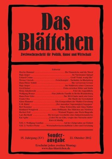 Das Blättchen, Sonderausgabe 22. Oktober 2012. - Verlag für Berlin ...