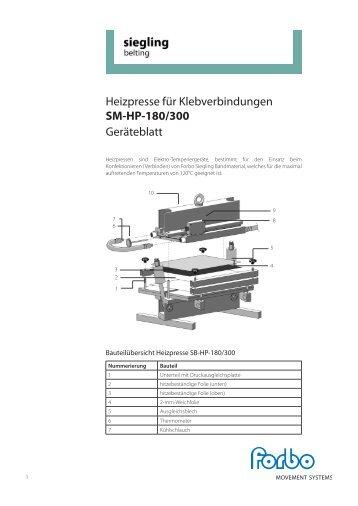 Heizpresse für Klebverbindungen SM-HP-180/300 ... - Forbo Siegling