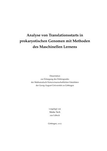 Dissertation - Analyse von Translationsstarts in prokaryotischen ...