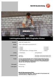 Referenzblatt - Marti AG, Bauunternehmung, Zürich
