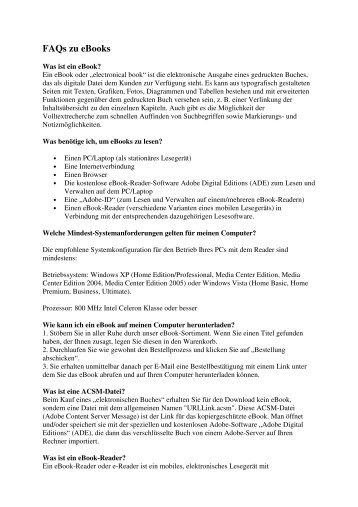 FAQs zu E-Books - medhochzwei Verlag GmbH
