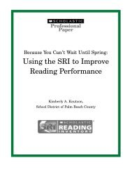 Using the SRI to Improve Reading Performance - Scholastic
