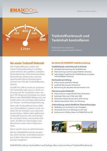 Treibstoffverbrauch und Tankinhalt kontrollieren - ENAiKOON