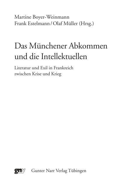 Das Münchner Abkommen und die Intellektuellen. Literatur ... - Narr