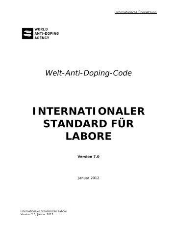 INTERNATIONALER STANDARD FÜR LABORE - Sportministerium