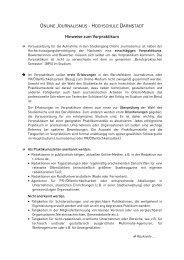 Hinweise zum Vorpraktikum - Journalismus Darmstadt - Hochschule ...