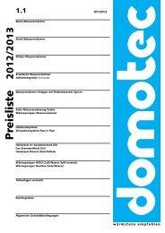 Preisliste - Domotec AG