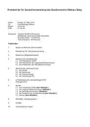 Protokoll der 53. Generalversammlung des Quartiervereins Dättnau ...