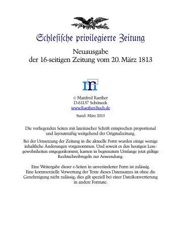 Zeitung vom 20. März 1813 aufrufen - Selbstverlag Manfred Raether