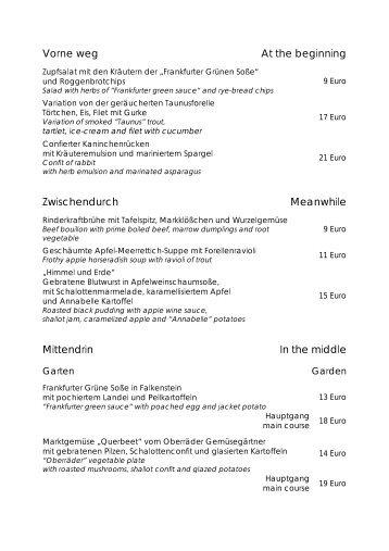 unsere menükarte - Restaurant Landgut Falkenstein