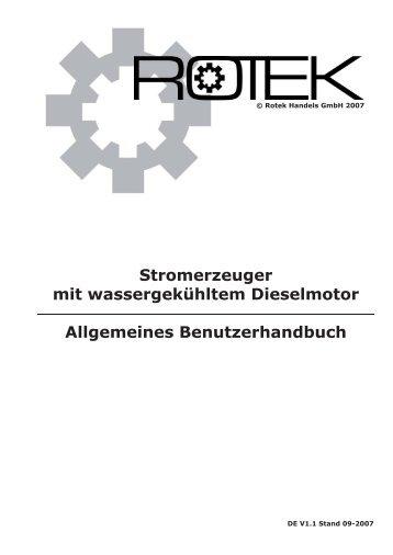 Allgemeines Benutzerhandbuch für Stromerzeuger - Rotek