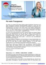 Für mehr Transparenz