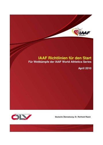 IAAF Richtlinien für den Start