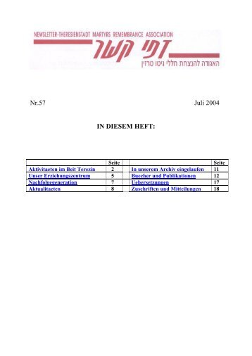 Nr.57 Juli 2004 IN DIESEM HEFT: