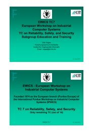EWICS TC7 European Workshop on Industrial Computer Systems ...
