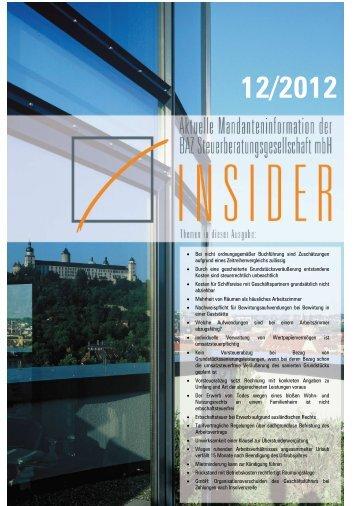 Download INSIDER 12.2012 - BAZ Steuerberatungsgesellschaft