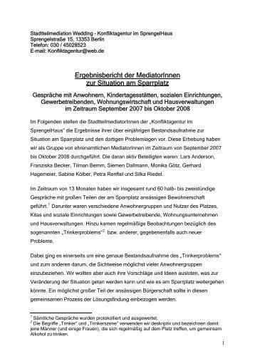 Stadtteilmediation Wedding – Konfliktagentur im Sprengelhaus