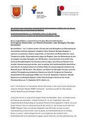 Verringertes Sterberisiko von Rheuma-Patienten ... - DGRH-Kongress