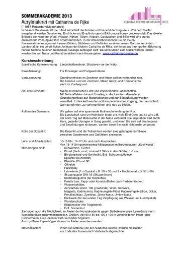 Infos zu den Kursen Sommerakademie 2013 - Internationale ...