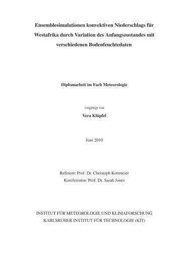 Ensemblesimulationen konvektiven Niederschlags ... - IMK-TRO - KIT