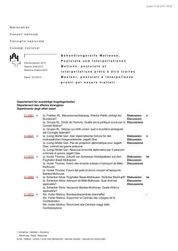 Motions, postulats et interpellations prêts à être tra - Schweizer ...