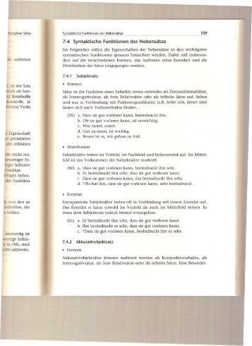 7.4 Syntaktische Funktionen der Nebensätze