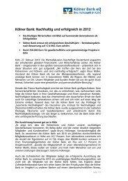 Pressemitteilung Jahrespressekonferenz Kölner Bank - GAD eG