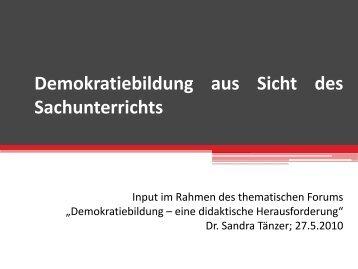 Demokratebildung aus Sicht des Sachunterrichts - Junge Akademie ...