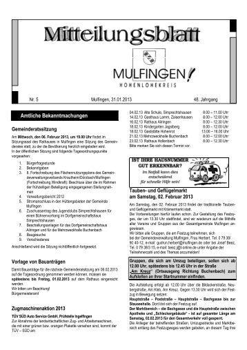 Mitteilungsblatt Nr. 5, v. 31.01.2013 - Gemeinde Mulfingen