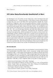 225 Jahre Naturforschende Gesellschaft in Bern