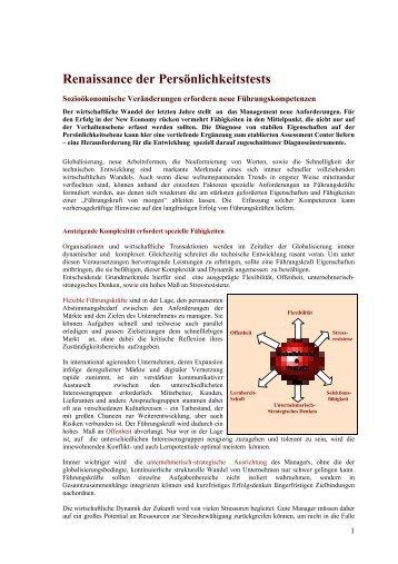 Renaissance der Persönlichkeitstests - alpha-test GmbH