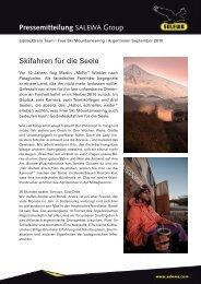 Skifahren für die Seele Pressemitteilung SALEWA Group