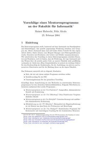 Vorschläge eines Mentorenprogramms an der Fakultät für Informatik1