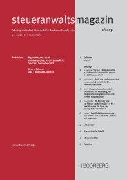 steueranwaltsmagazin Heft 1, 2009 - Wagner-Joos Rechtsanwälte