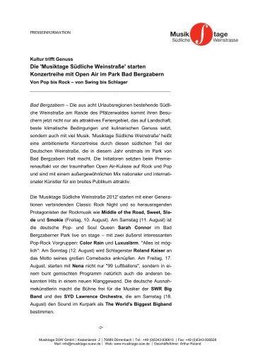 Die 'Musiktage Südliche Weinstraße' starten Konzertreihe mit Open ...