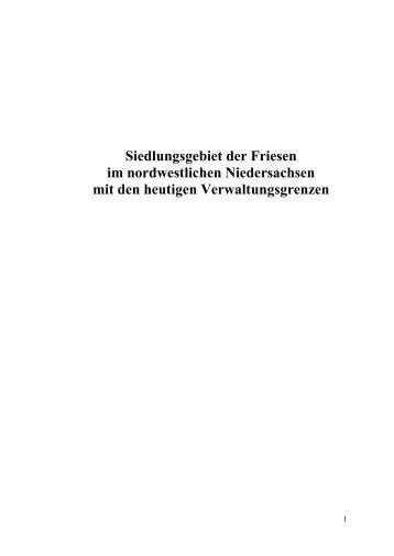 Definition des Siedlungsgebietes der Friesen im nordwestlichen ...