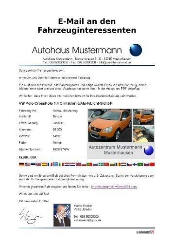 Klicken Sie hier für unsere Muster E-Mail mit Musterpräsentation