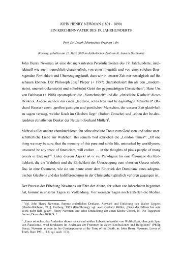 JOHN HENRY NEWMAN (1801 - 1890) EIN ... - Theologie heute