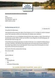 10 JAHRE REVIER CHARTER 2003 2013 - Burkhard Welzel - Start