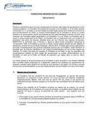 Règles de gouvernance - Fonds Universitas