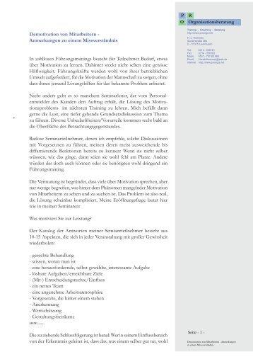 Demotivation von Mitarbeitern - Anmerkungen zu ... - proorga.net