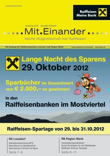 29. Oktober 2012 - Raiffeisenbank Region Mank