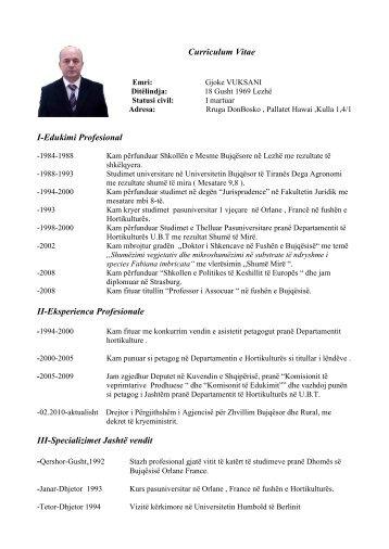 CV (Rezymeja) e titullarit - AZHBR
