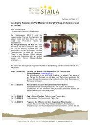 Angebot für Sommer und Herbst 2013 - Parc-Hotel Staila