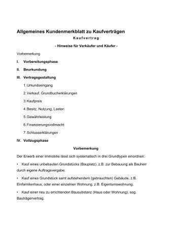 allgemeines kundenmerkblatt zu kaufvertrgen haedingerde - Provisionsvereinbarung Muster