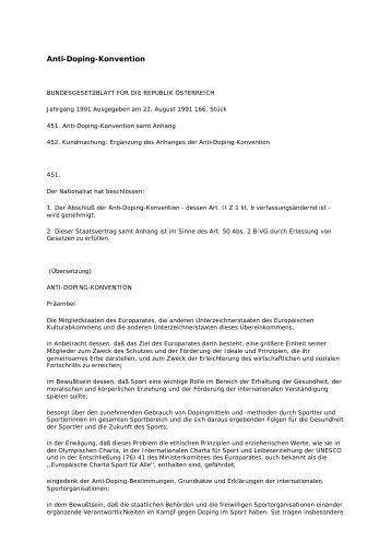 Anti-Doping-Konvention (PDF, 33 KB) - Sportministerium