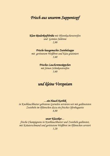 Speisekarte im Gasthaus Zum Ochsen - Gasthof zum Ochsen