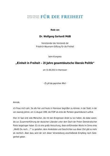 Die Rede von Wolfgang Gerhardt als Manuskript
