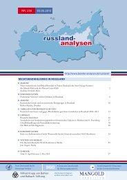 Russland-Analyse Nr. 256 - Laender-Analysen
