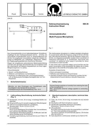 LEYBOLD DIDACTIC GMBH Gebrauchsanweisung 586 26 ...